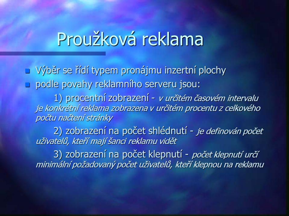Příklady reklamních serverů: n Http://www.doubleclick.net Http://www.doubleclick.net n http://www.adpoint.cz http://www.adpoint.cz