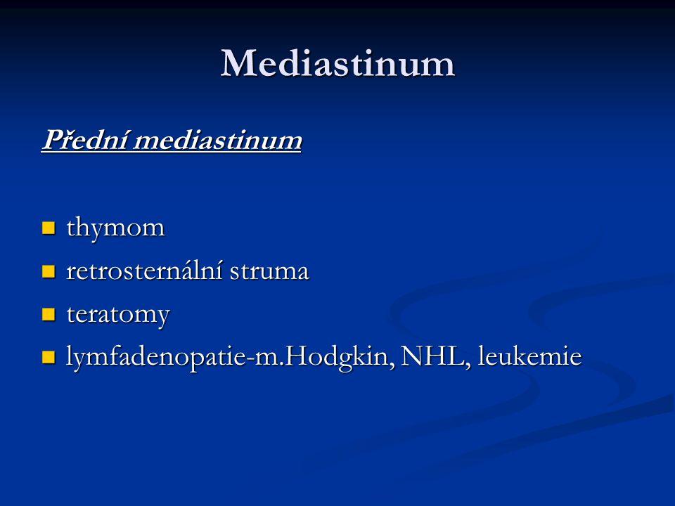 Mediastinum Přední mediastinum thymom thymom retrosternální struma retrosternální struma teratomy teratomy lymfadenopatie-m.Hodgkin, NHL, leukemie lym
