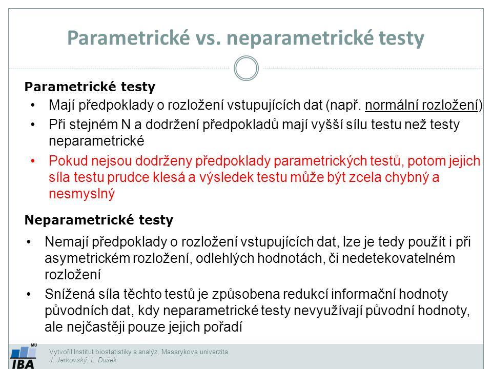 Parametrické vs. neparametrické testy Parametrické testy Neparametrické testy Mají předpoklady o rozložení vstupujících dat (např. normální rozložení)