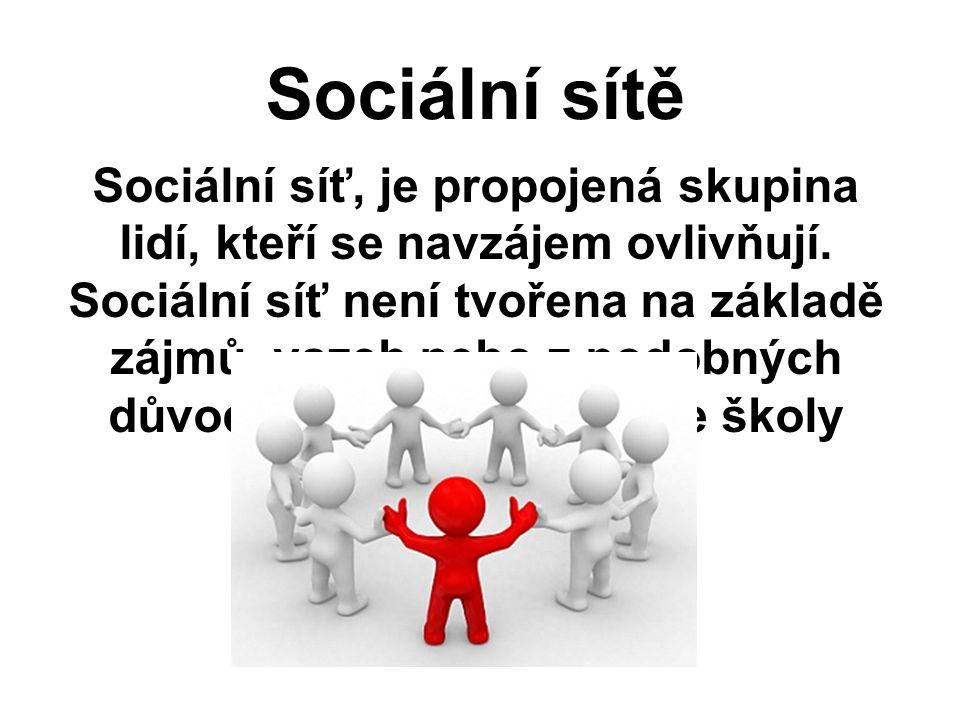 Sociální sítě Sociální síť, je propojená skupina lidí, kteří se navzájem ovlivňují. Sociální síť není tvořena na základě zájmů, vazeb nebo z podobných