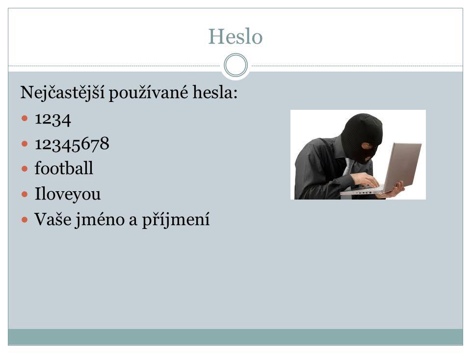 Heslo Nejčastější používané hesla: 1234 12345678 football Iloveyou Vaše jméno a příjmení