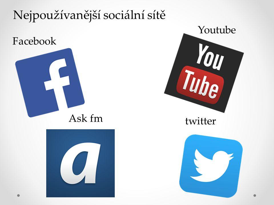 Nejpoužívanější sociální sítě Facebook Youtube Ask fm twitter