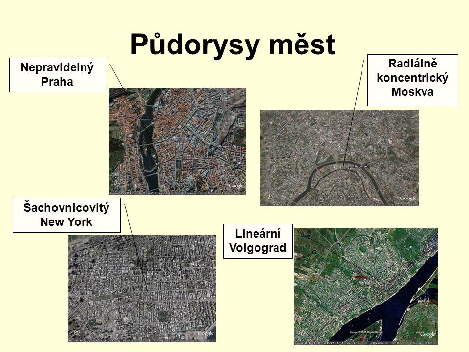 Půdorysy měst Nepravidelný Praha Šachovnicovitý New York Radiálně koncentrický Moskva Lineární Volgograd