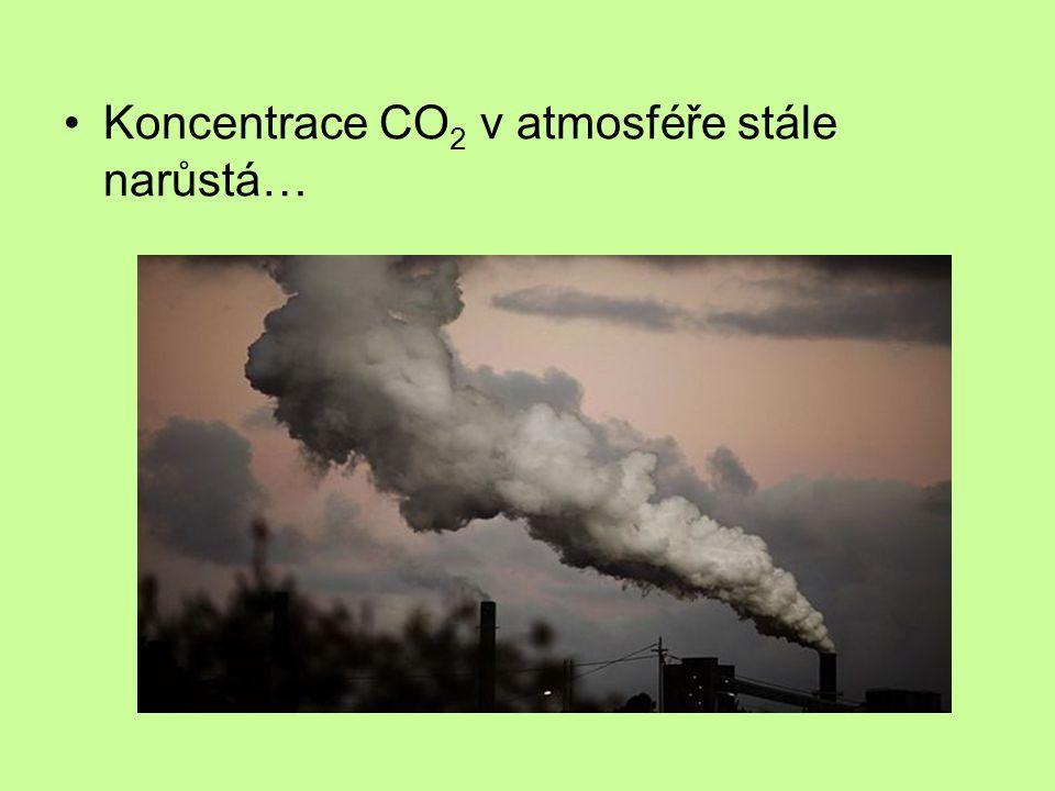 Koncentrace CO 2 v atmosféře stále narůstá…