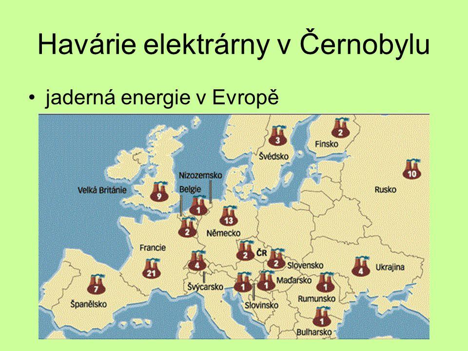 Havárie elektrárny v Černobylu jaderná energie v Evropě