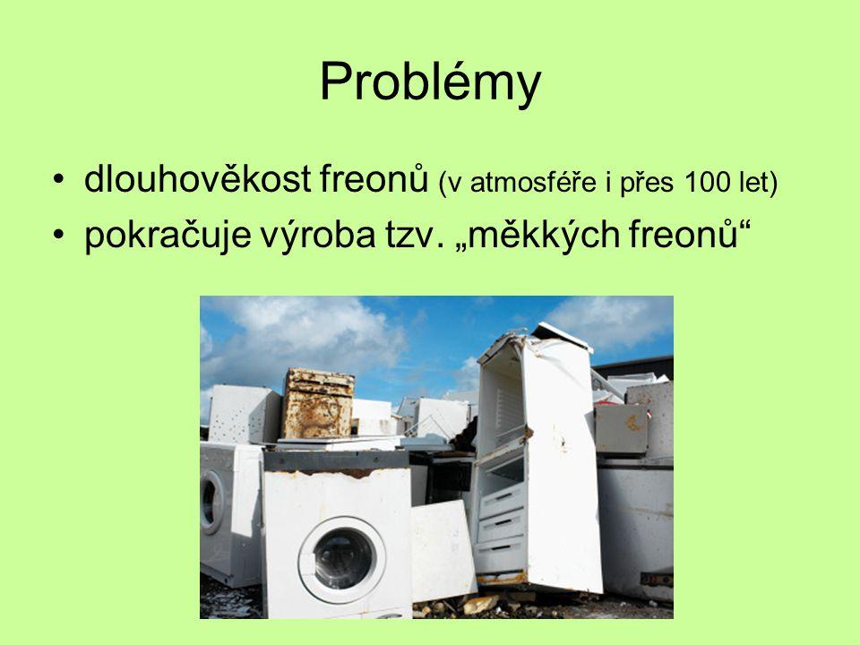 """Problémy dlouhověkost freonů (v atmosféře i přes 100 let) pokračuje výroba tzv. """"měkkých freonů"""