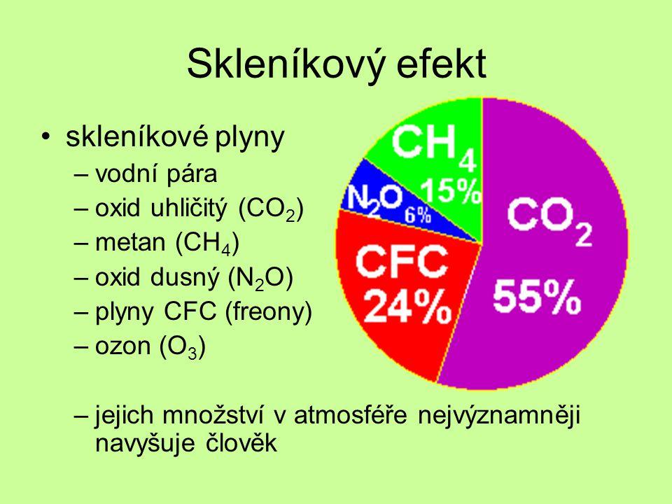 Skleníkový efekt skleníkové plyny –vodní pára –oxid uhličitý (CO 2 ) –metan (CH 4 ) –oxid dusný (N 2 O) –plyny CFC (freony) –ozon (O 3 ) –jejich množství v atmosféře nejvýznamněji navyšuje člověk