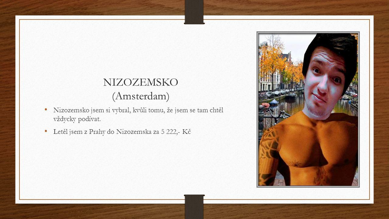 NIZOZEMSKO (Amsterdam) Nizozemsko jsem si vybral, kvůli tomu, že jsem se tam chtěl vždycky podívat.