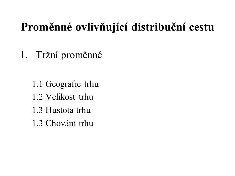 Proměnné ovlivňující distribuční cestu 1.Tržní proměnné 1.1 Geografie trhu 1.2 Velikost trhu 1.3 Hustota trhu 1.3 Chování trhu