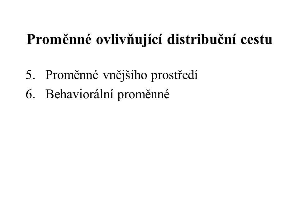 Proměnné ovlivňující distribuční cestu 5.Proměnné vnějšího prostředí 6.Behaviorální proměnné