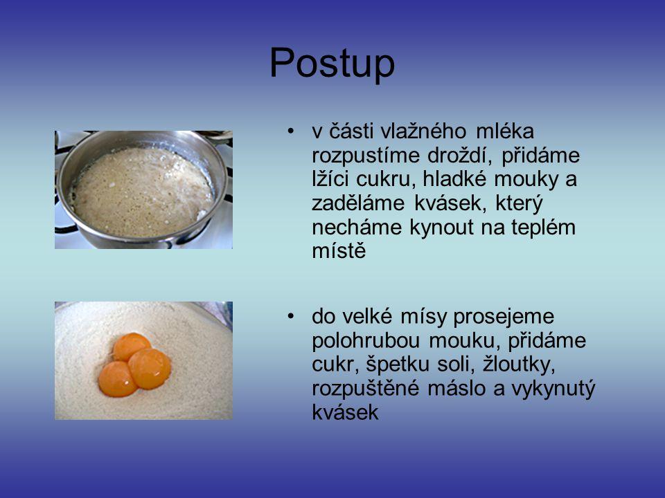 Ingredience Potřebujeme na 9-10 buchet: 750g polohrubé mouky 300ml mléka 3 žloutky 50g másla 150g cukru špetka soli 30g droždí lžíce hladké mouky Nápl
