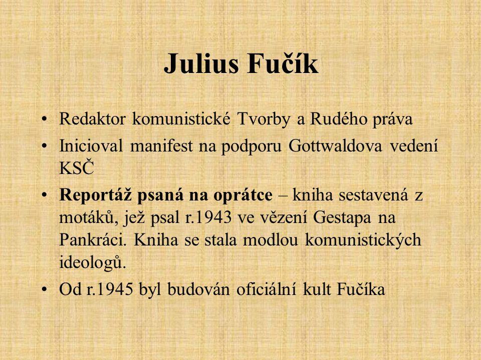 Odpovědi 1.J.Fučík, kniha sestavená z motáků, jež psal r.1943 ve vězení Gestapa na Pankráci.