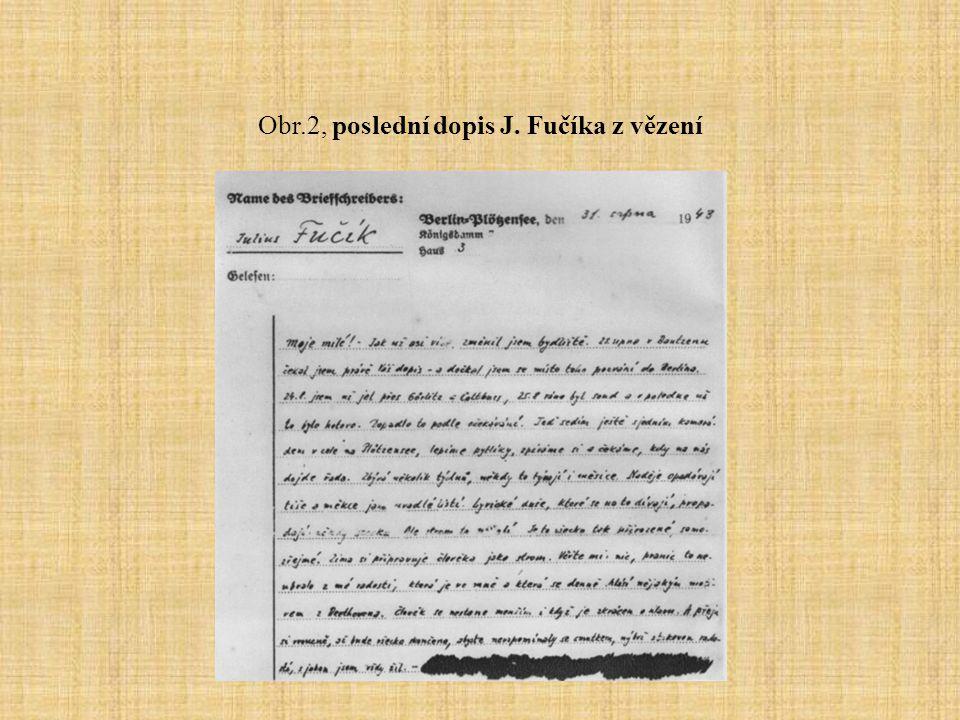 Obr.2, poslední dopis J. Fučíka z vězení