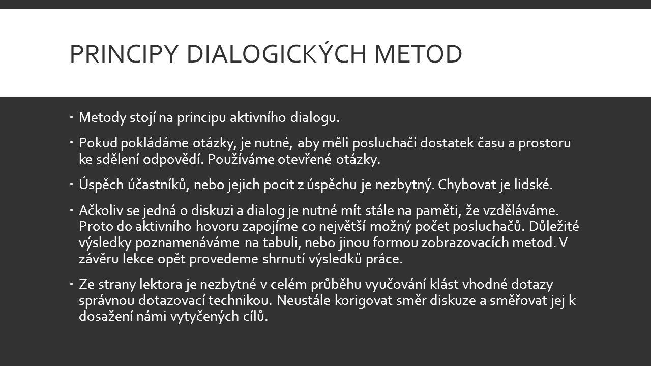 PRINCIPY DIALOGICKÝCH METOD  Metody stojí na principu aktivního dialogu.