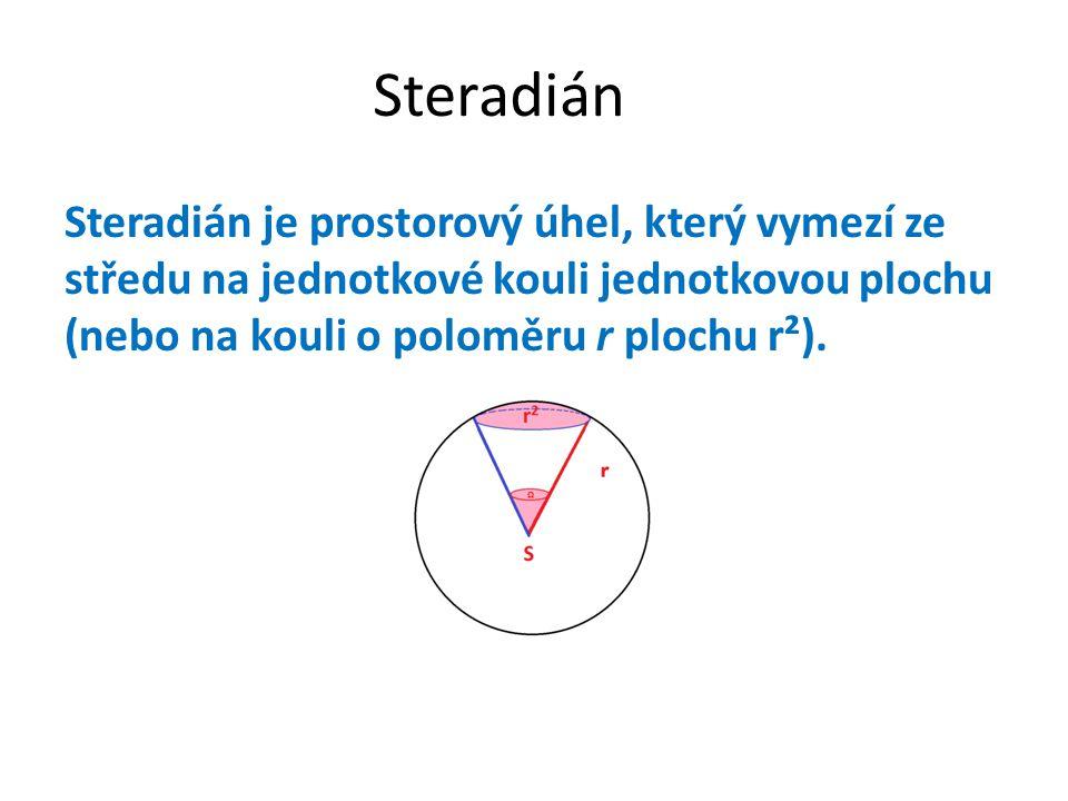 Steradián Steradián je prostorový úhel, který vymezí ze středu na jednotkové kouli jednotkovou plochu (nebo na kouli o poloměru r plochu r²).