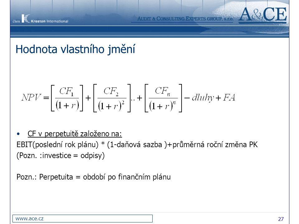 27 www.ace.cz Hodnota vlastního jmění CF v perpetuitě založeno na: EBIT(poslední rok plánu) * (1-daňová sazba )+průměrná roční změna PK (Pozn. :invest