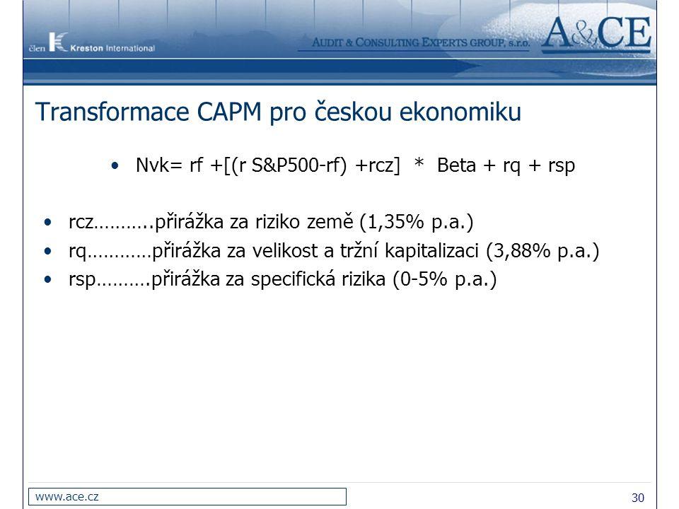 30 www.ace.cz Transformace CAPM pro českou ekonomiku Nvk= rf +[(r S&P500-rf) +rcz] * Beta + rq + rsp rcz………..přirážka za riziko země (1,35% p.a.) rq……