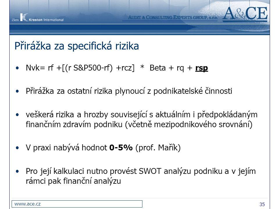 35 www.ace.cz Přirážka za specifická rizika Nvk= rf +[(r S&P500-rf) +rcz] * Beta + rq + rsp Přirážka za ostatní rizika plynoucí z podnikatelské činnos