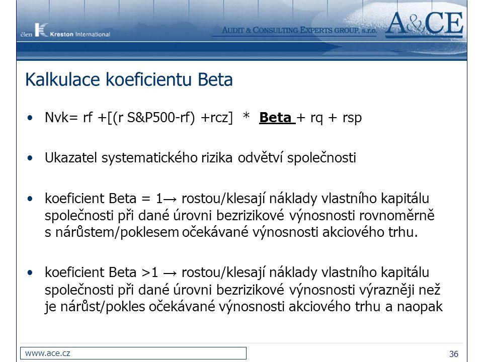 36 www.ace.cz Kalkulace koeficientu Beta Nvk= rf +[(r S&P500-rf) +rcz] * Beta + rq + rsp Ukazatel systematického rizika odvětví společnosti koeficient