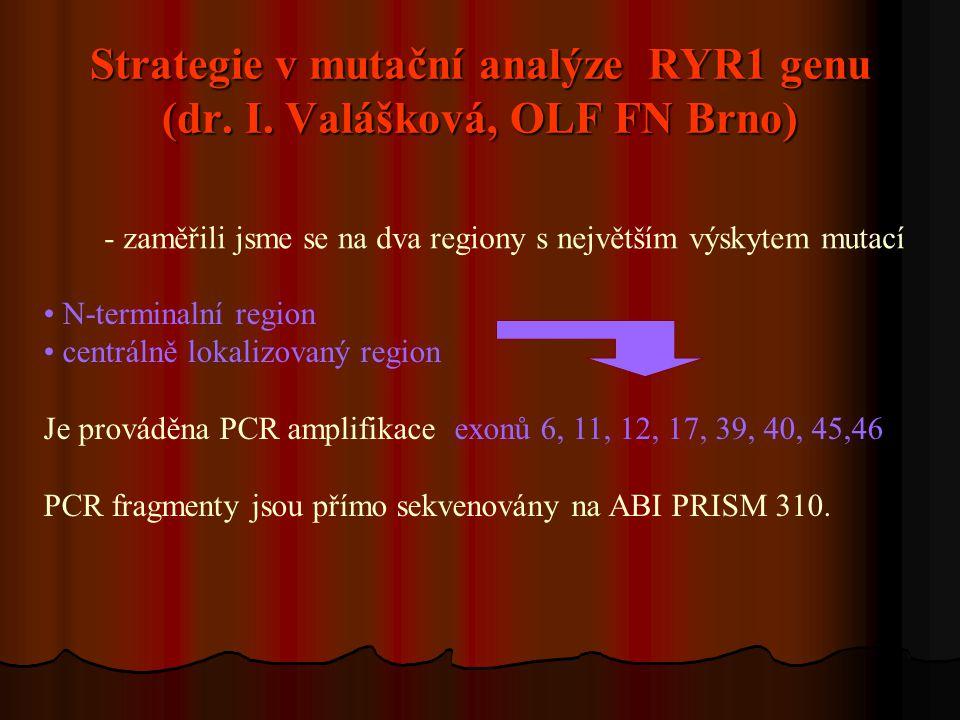 Strategie v mutační analýze RYR1 genu (dr. I. Valášková, OLF FN Brno) N-terminalní region centrálně lokalizovaný region Je prováděna PCR amplifikace e