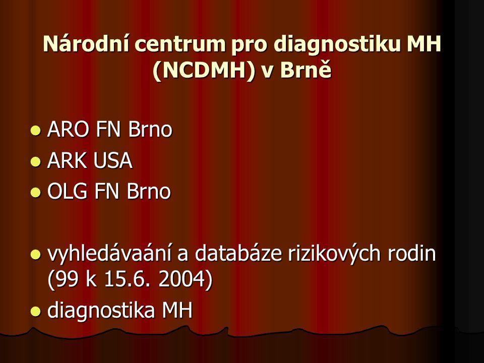 Národní centrum pro diagnostiku MH (NCDMH) v Brně ARO FN Brno ARO FN Brno ARK USA ARK USA OLG FN Brno OLG FN Brno vyhledávaání a databáze rizikových rodin (99 k 15.6.
