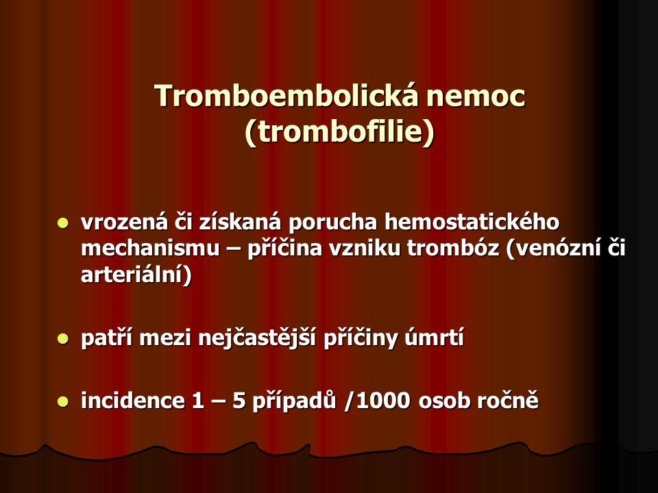 Tromboembolická nemoc (trombofilie) vrozená či získaná porucha hemostatického mechanismu – příčina vzniku trombóz (venózní či arteriální) vrozená či získaná porucha hemostatického mechanismu – příčina vzniku trombóz (venózní či arteriální) patří mezi nejčastější příčiny úmrtí patří mezi nejčastější příčiny úmrtí incidence 1 – 5 případů /1000 osob ročně incidence 1 – 5 případů /1000 osob ročně