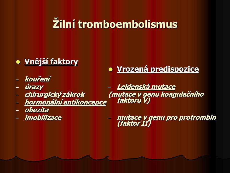Žilní tromboembolismus Vnější faktory Vnější faktory – kouření – úrazy – chirurgický zákrok – hormonální antikoncepce – obezita – imobilizace Vrozená predispozice Vrozená predispozice – Leidenská mutace (mutace v genu koagulačního faktoru V) – mutace v genu pro protrombin (faktor II)
