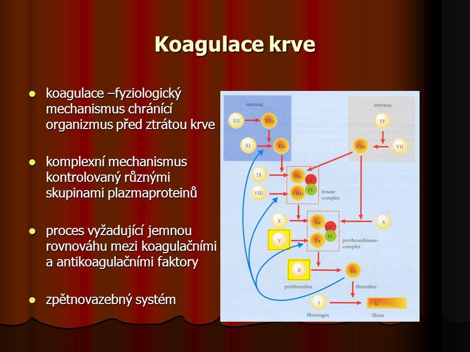 Koagulace krve koagulace –fyziologický mechanismus chránící organizmus před ztrátou krve koagulace –fyziologický mechanismus chránící organizmus před ztrátou krve komplexní mechanismus kontrolovaný různými skupinami plazmaproteinů komplexní mechanismus kontrolovaný různými skupinami plazmaproteinů proces vyžadující jemnou rovnováhu mezi koagulačními a antikoagulačními faktory proces vyžadující jemnou rovnováhu mezi koagulačními a antikoagulačními faktory zpětnovazebný systém zpětnovazebný systém