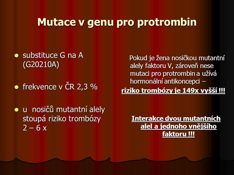 Mutace v genu pro protrombin substituce G na A (G20210A) substituce G na A (G20210A) frekvence v ČR 2,3 % frekvence v ČR 2,3 % u nosičů mutantní alely stoupá riziko trombózy 2 – 6 x u nosičů mutantní alely stoupá riziko trombózy 2 – 6 x Pokud je žena nosičkou mutantní alely faktoru V, zároveň nese mutaci pro protrombin a užívá hormonální antikoncepci – Pokud je žena nosičkou mutantní alely faktoru V, zároveň nese mutaci pro protrombin a užívá hormonální antikoncepci – riziko trombózy je 149x vyšší !!.
