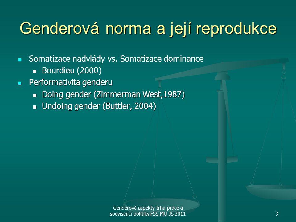 Genderové aspekty trhu práce a související politiky FSS MU JS 20113 Genderová norma a její reprodukce Somatizace nadvlády vs.
