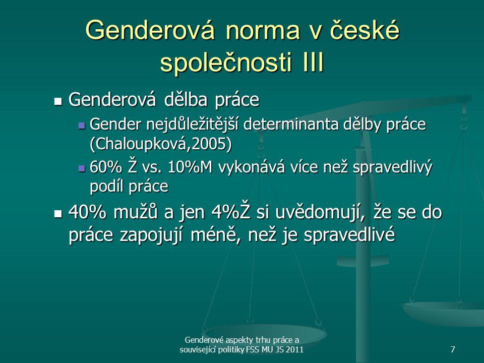 Genderové aspekty trhu práce a související politiky FSS MU JS 20117 Genderová norma v české společnosti III Genderová dělba práce Genderová dělba práce Gender nejdůležitější determinanta dělby práce (Chaloupková,2005) Gender nejdůležitější determinanta dělby práce (Chaloupková,2005) 60% Ž vs.