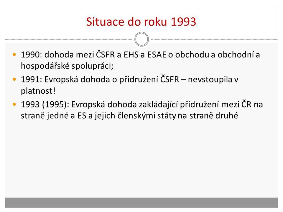 Situace do roku 1993 1990: dohoda mezi ČSFR a EHS a ESAE o obchodu a obchodní a hospodářské spolupráci; 1991: Evropská dohoda o přidružení ČSFR – nevstoupila v platnost.