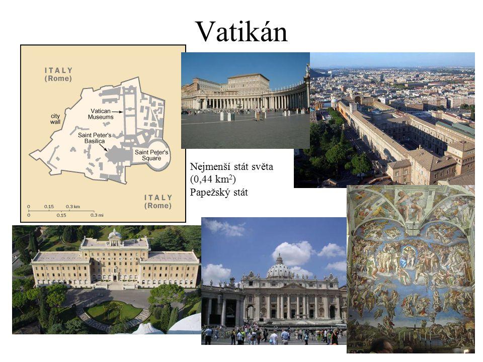 Vatikán Nejmenší stát světa (0,44 km 2 ) Papežský stát