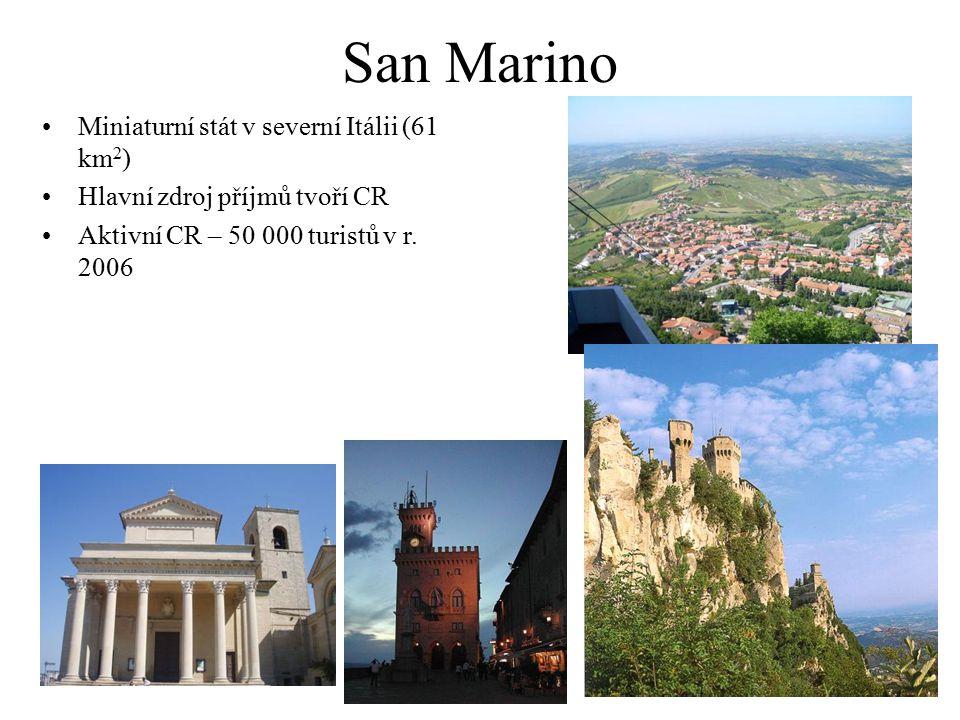 San Marino Miniaturní stát v severní Itálii (61 km 2 ) Hlavní zdroj příjmů tvoří CR Aktivní CR – 50 000 turistů v r. 2006