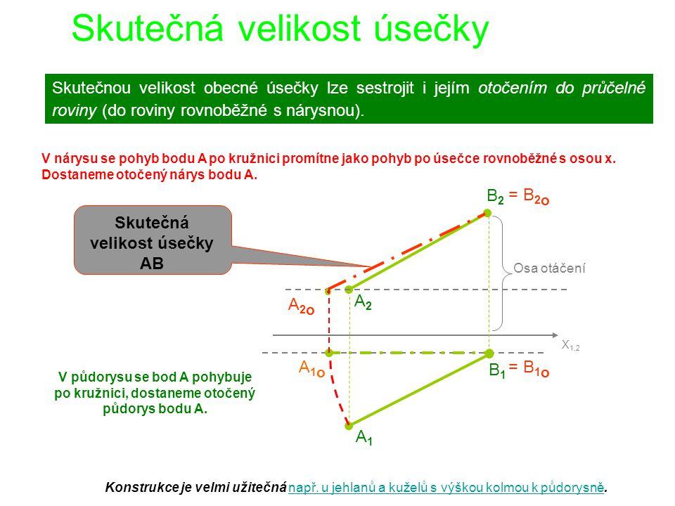 Pozn.: Skutečnou velikost obecné úsečky můžeme vypočítat jako délku tělesové úhlopříčky kvádru s rozměry  x,  y,  z.