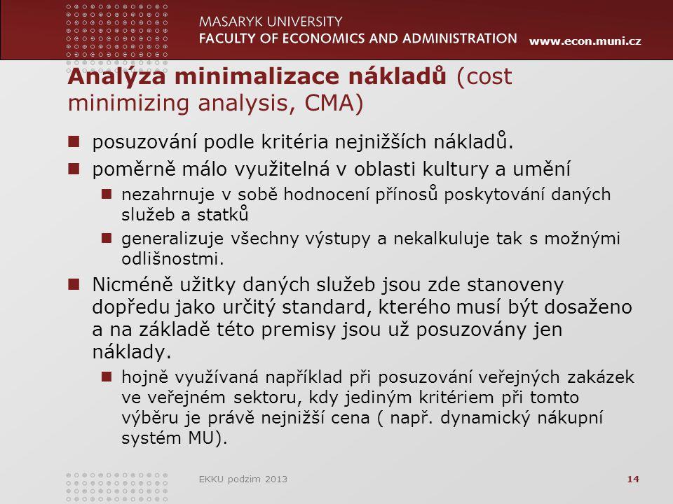 www.econ.muni.cz Analýza minimalizace nákladů (cost minimizing analysis, CMA) posuzování podle kritéria nejnižších nákladů.