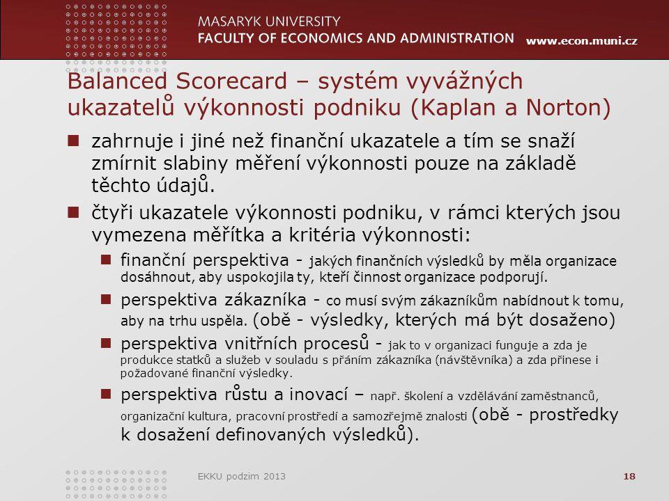 www.econ.muni.cz Balanced Scorecard – systém vyvážných ukazatelů výkonnosti podniku (Kaplan a Norton) zahrnuje i jiné než finanční ukazatele a tím se snaží zmírnit slabiny měření výkonnosti pouze na základě těchto údajů.