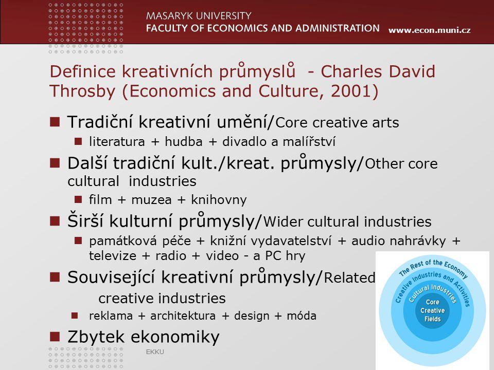 www.econ.muni.cz Definice kreativních průmyslů - Charles David Throsby (Economics and Culture, 2001) Tradiční kreativní umění/ Core creative arts lite