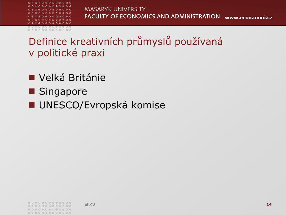 www.econ.muni.cz Definice kreativních průmyslů používaná v politické praxi Velká Británie Singapore UNESCO/Evropská komise EKKU14