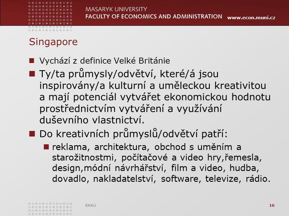 www.econ.muni.cz Singapore Vychází z definice Velké Británie Ty/ta průmysly/odvětví, které/á jsou inspirovány/a kulturní a uměleckou kreativitou a maj