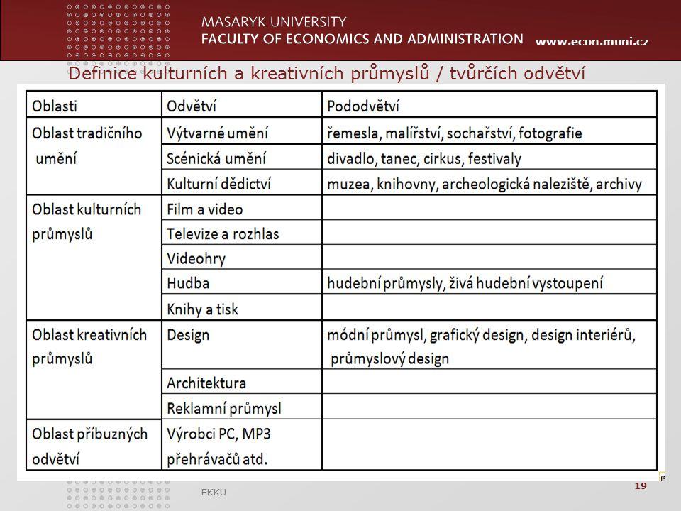 www.econ.muni.cz Definice kulturních a kreativních průmyslů / tvůrčích odvětví EKKU 19