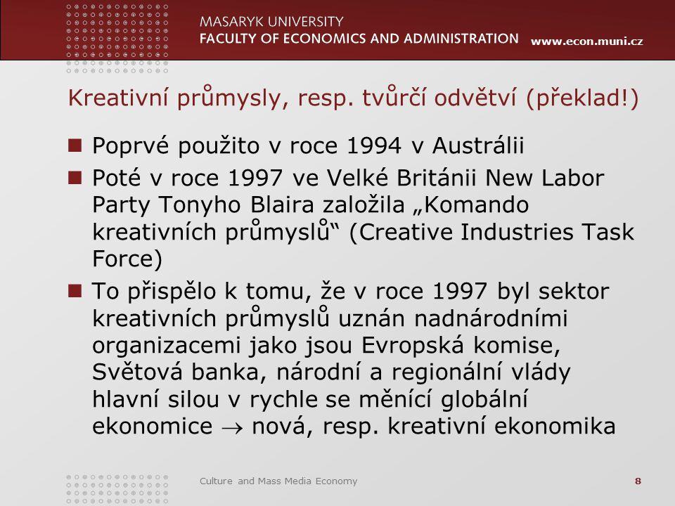 www.econ.muni.cz Kreativní průmysly, resp. tvůrčí odvětví (překlad!) Poprvé použito v roce 1994 v Austrálii Poté v roce 1997 ve Velké Británii New Lab