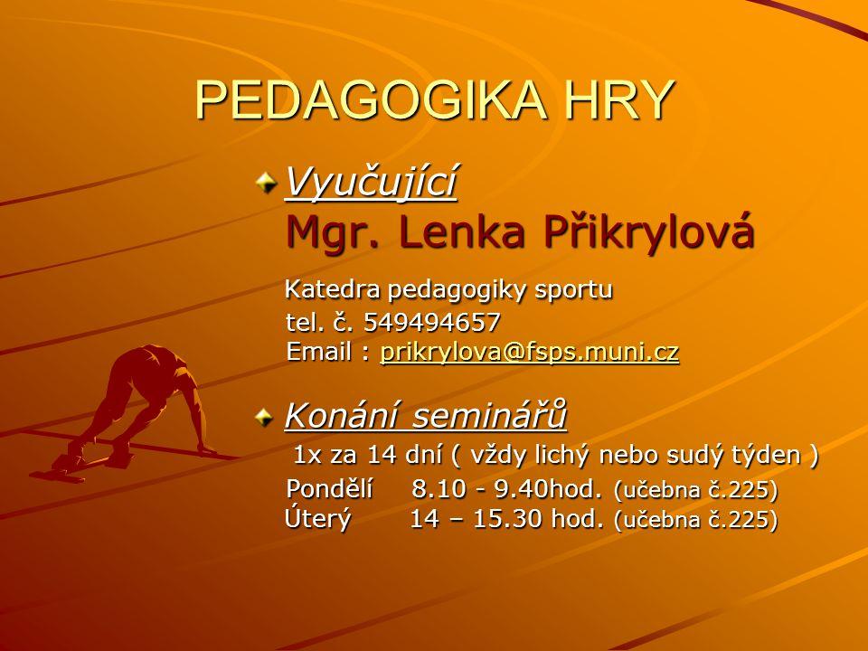 PEDAGOGIKA HRY Vyučující Mgr.Lenka Přikrylová Katedra pedagogiky sportu tel.
