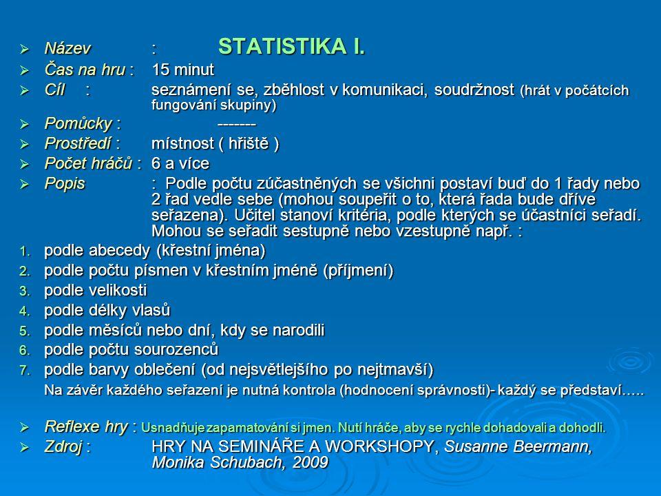  Název: STATISTIKA I.