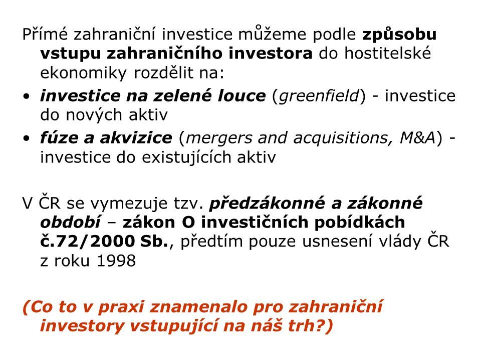 Přímé zahraniční investice můžeme podle způsobu vstupu zahraničního investora do hostitelské ekonomiky rozdělit na: investice na zelené louce (greenfield) - investice do nových aktiv fúze a akvizice (mergers and acquisitions, M&A) - investice do existujících aktiv V ČR se vymezuje tzv.