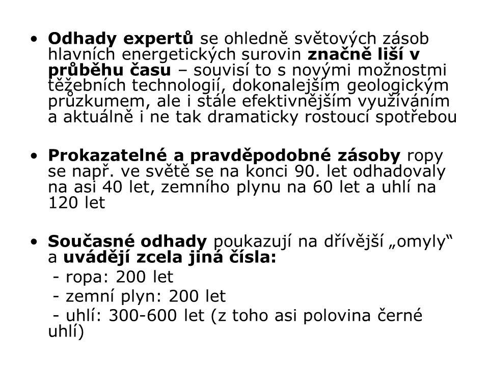 Uranová ruda Těžba od roku 1840 v Jáchymově – získávání rádia (původně jako přísada do barev ve sklárnách) Další doly: oblast Slavkovského lesa a Krušnohoří, Příbramsko, Českolipsko, Českomoravská vrchovina a Rychlebské hory V 90.