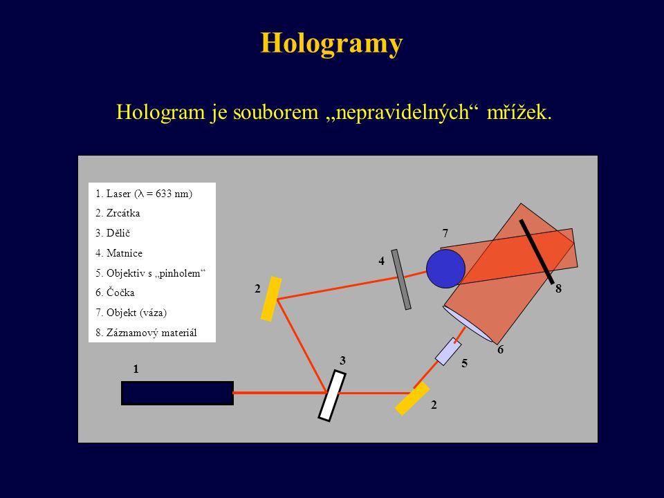"""Hologramy Hologram je souborem """"nepravidelných"""" mřížek. 2 1 2 3 4 5 6 7 8 1. Laser ( = 633 nm) 2. Zrcátka 3. Dělič 4. Matnice 5. Objektiv s """"pinholem"""""""