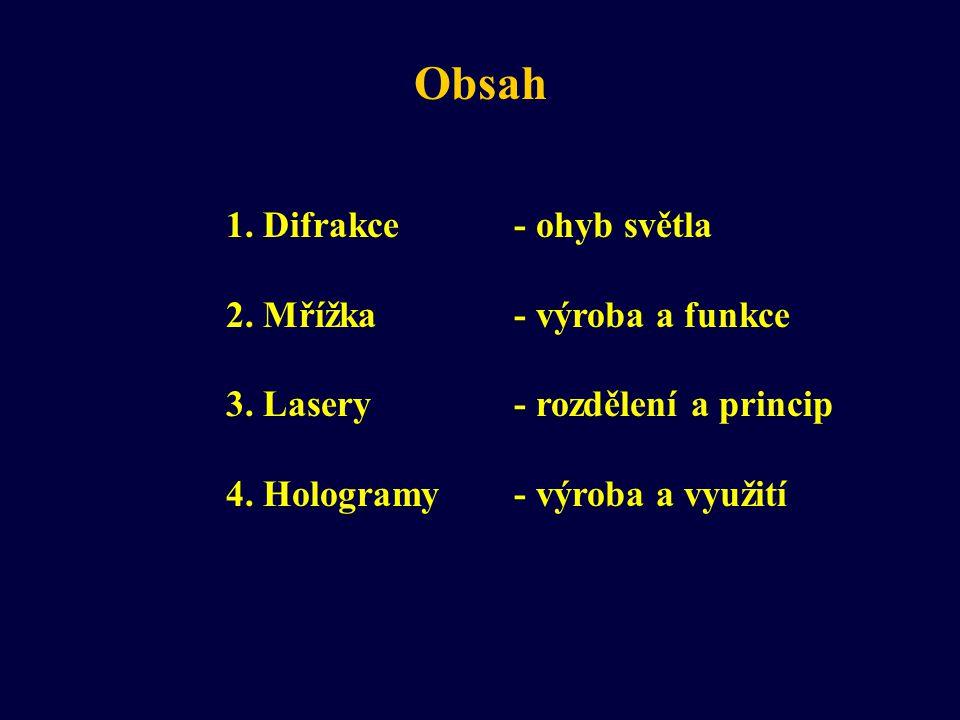 Obsah 1. Difrakce- ohyb světla 2. Mřížka- výroba a funkce 3. Lasery- rozdělení a princip 4. Hologramy- výroba a využití
