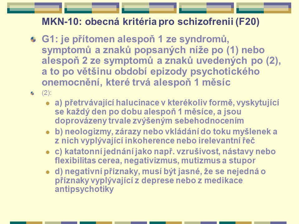 MKN-10: obecná kritéria pro schizofrenii (F20) G1: je přítomen alespoň 1 ze syndromů, symptomů a znaků popsaných níže po (1) nebo alespoň 2 ze symptom