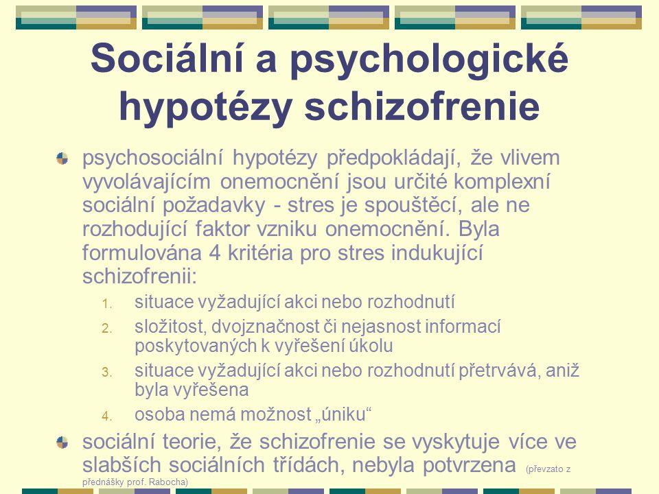 Sociální a psychologické hypotézy schizofrenie psychosociální hypotézy předpokládají, že vlivem vyvolávajícím onemocnění jsou určité komplexní sociáln